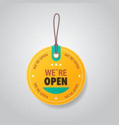 We are open tag coronavirus quarantine over vector