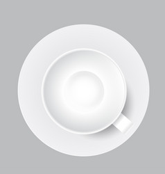 white cup mug top view vector image