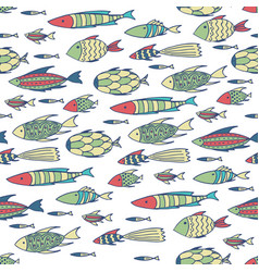 White pattern with shoal of fishes vector