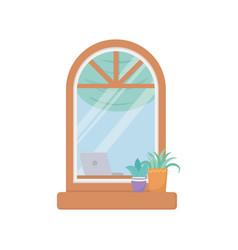 window facade exterior building isolated icon vector image