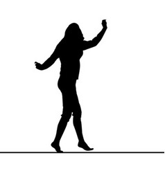 Woman silhouette balancing on slackline vector