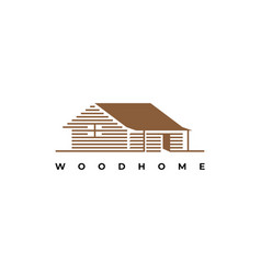 wood house logo vector image