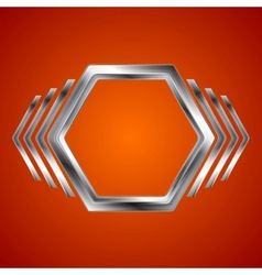 Abstract metal hexagon and arrows shape vector image vector image
