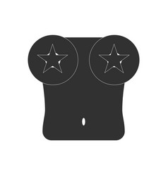 black icon on white background boobs and stars vector image vector image