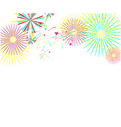 color fireworks isolated on white background vector image