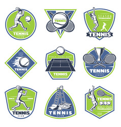 colored vintage tennis emblems set vector image vector image