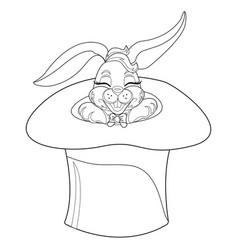 Coloring page rabbit hand drawn vintage doodle vector