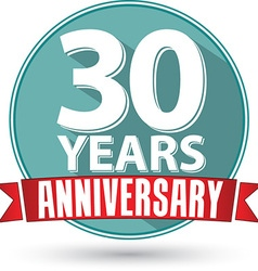 Flat design 30 yearS anniversary label with red vector image vector image