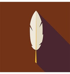 Flat Writing Feather with long Shadow vector image