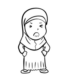 hand drawing frustrated muslim girl - vector image vector image