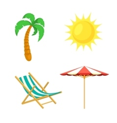 Palm tree sun umbrella deck chair vector image