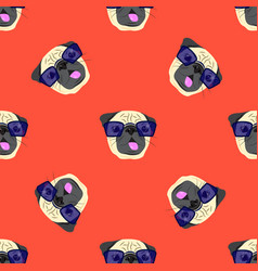 seamless pattern with pug-dog in glasses on red vector image vector image