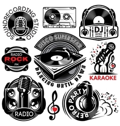 set of retro badges templat for karaoke disco vector image vector image