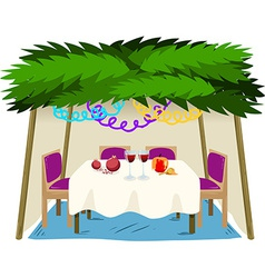 Sukkah For Sukkot With Food On Table vector image vector image