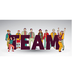 team group business people and sign vector image vector image