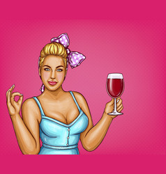 blonde overweight woman holds glass of wine vector image