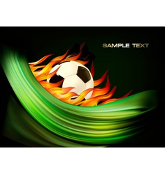 Fire football background with a soccer ball vector image vector image