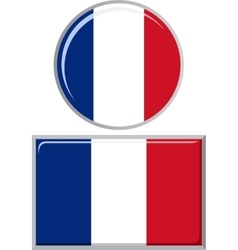 French round and square icon flag vector image