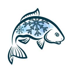 frozen fish design vector image vector image