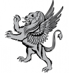 heraldic symbol lion with wings vector image vector image