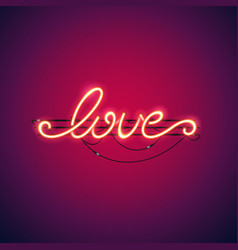 love red neon sign vector image