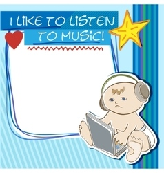 Postcard little kid listening to music vector image