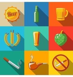 Pub beer flat long shadow icons set with - Glass vector image vector image
