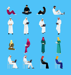 set of muslim people in a flat style isolated vector image vector image