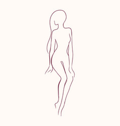 silhouette of pretty slim nude long-haired woman vector image