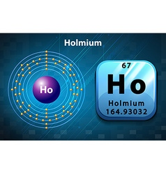 Symbol and electron diagram for Holmium vector image vector image