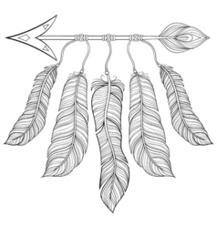 Boho chic ethnic Arrow with feathers freedom vector image vector image