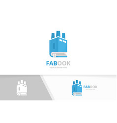 book and factory logo combination industry vector image vector image