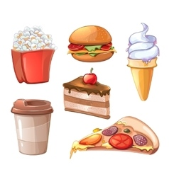 Cartoon fast food icons vector image