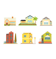 cottage and assorted real estate building icons vector image vector image