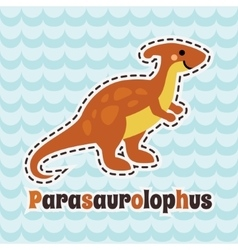 Cute cartoon smiling parasaurolophus on blue wave vector image