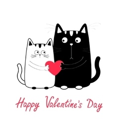 Happy Valentines Day Cute cartoon black white cat vector image vector image