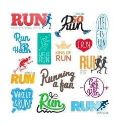 Run Icons Set Inscriptions and Pictures of Runer vector image vector image