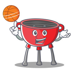 With basketball barbecue grill cartoon character vector