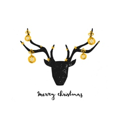 black deer head gold foil baubles greeting card vector image