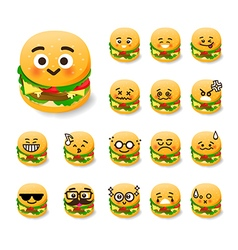 Collection of difference emoticon burger cartoon vector image vector image