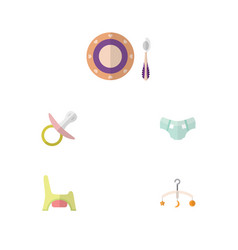 flat child set of baby plate nipple mobile and vector image vector image