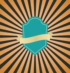 Retro vintage badge with brown sunrays background vector image