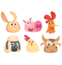 set of cartoon farm animals head icons vector image