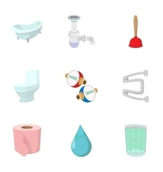 Toilet icons set cartoon style vector image
