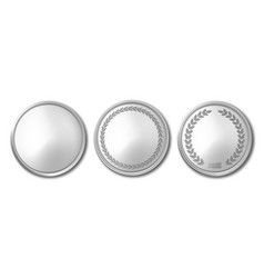 3d realistic silver metal blank coin icon vector