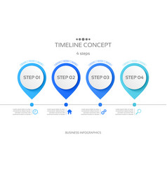 4 steps timeline infographic template vector image