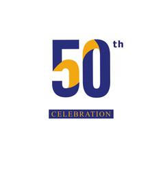 50 th anniversary celebration orange blue vector