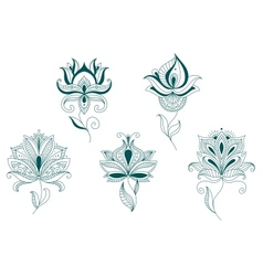 Abstract flower blossoms set vector image