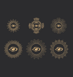 All seeing eye with sunbursthand drawn images set vector