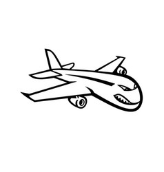 Angry jumbo jet plane flying mascot black vector